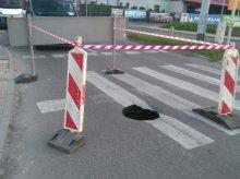 Na Gdyńskiej zapadł się asfalt