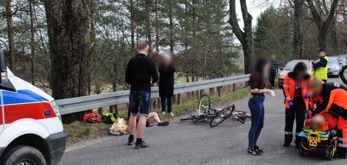 Wypadek rowerzystek. Jedna najechała na drugą
