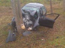 Kierowca wpadł do rowu i uderzył w drzewo. Dwie osoby ranne