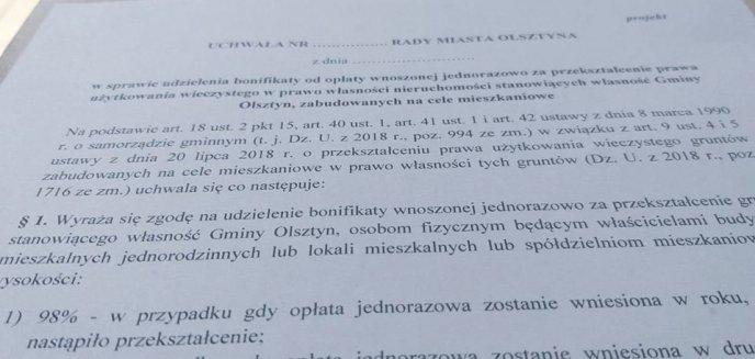 Artykuł: Bonifikata za przekształcenie użytkowania wieczystego. Na ile mogą liczyć olsztynianie?