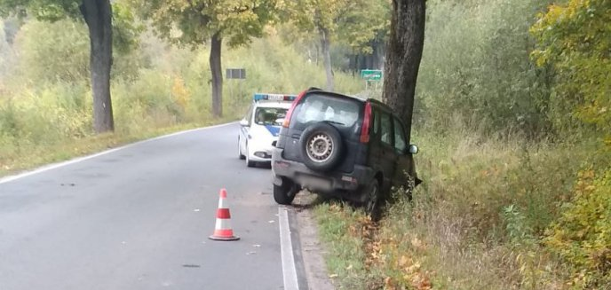 Artykuł: Kolizja pod Olsztynem. Kierowca zjechał na pobocze i uderzył w drzewo