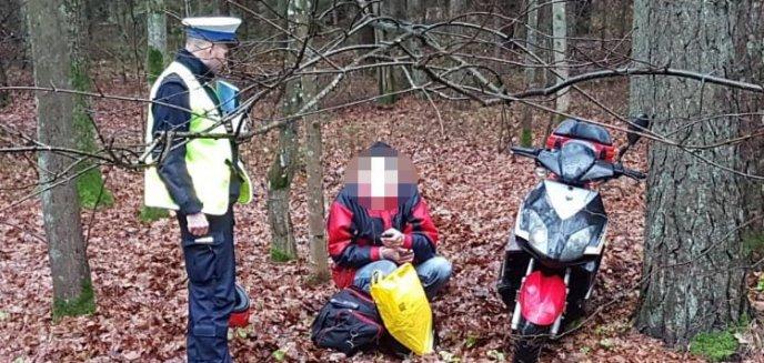 Pijany motorowerzysta krzywo jechał, bo... ''mu deszcz w oczy chlapał''