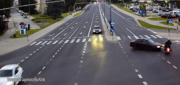 Artykuł: Wypadek na al. Warszawskiej w Olsztynie. Audi uderzyło w motocyklistów [WIDEO]