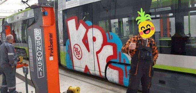 Artykuł: Zamiast do szkoły, poszedł namalować graffiti na olsztyńskim tramwaju