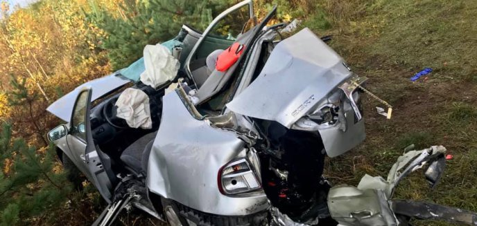 Artykuł: Wypadek pod Olsztynem. Trzy osoby w szpitalu, w tym dwie nieprzytomne [ZDJĘCIA]