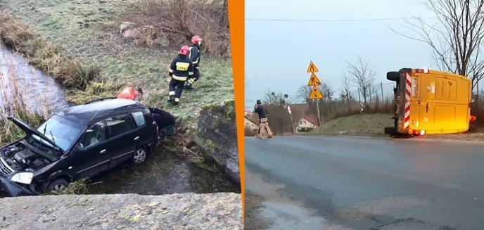 Artykuł: Śliski poranek na drogach powiatu olsztyńskiego [ZDJĘCIA]