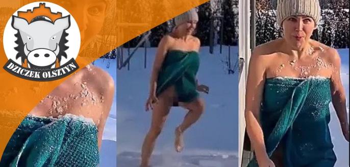 Pochodząca z Olsztyna aktorka, Anna Samusionek, morsuje w śniegu bez majtek [WIDEO]