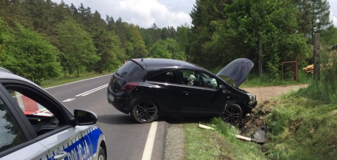 Artykuł: Wypadek pod Olsztynem. Kierująca oplem wjechała do rowu