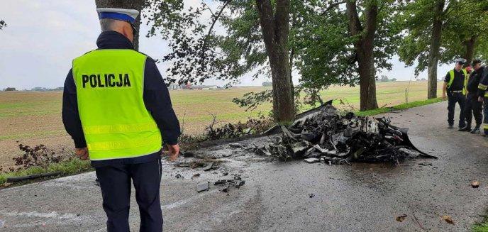 Artykuł: Tragedia na drodze wojewódzkiej. Dwie osoby spłonęły w porsche [ZDJĘCIA]