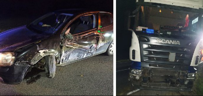 Gmina Dywity. 56-latka kierująca vw zderzyła się z ciężarówką. Była kompletnie pijana [ZDJĘCIA]
