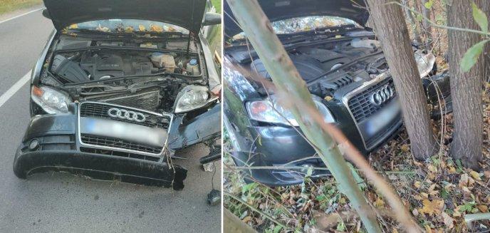 Gmina Dywity. W pobliżu Ługwałdu 42-letnia kierująca audi uderzyła w drzewo